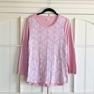 ✨🆕 J.Crew Light Pink Lace Front LS Top